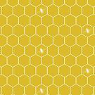 Honeycomb with Bee in Golden by ThistleandFox