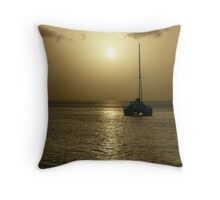 Boat at Sunset - Martinique, FWI Throw Pillow