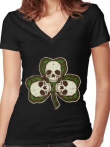 St Patty's Day of the Dead Women's Fitted V-Neck T-Shirt