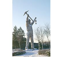 Giant sculpture of a miner 1 Photographic Print