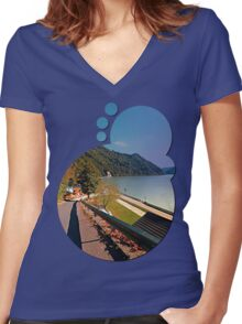 Road into Danube valley | waterscape photography Women's Fitted V-Neck T-Shirt