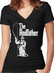 The Rodfather Fishing T Shirt Women's Fitted V-Neck T-Shirt
