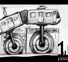 January 10th - The unicycle train by 365 Notepads -  School of Faces