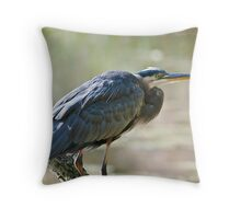 Great Blue Heron on branch Throw Pillow