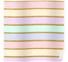 Modern pink gold glitter effect stripes pattern Poster