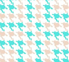 Abstract turquoise brown houndstooth pattern  by Maria Fernandes
