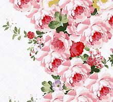 Vintage summer pink red flowers pattern by Maria Fernandes