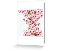 Vintage summer pink red flowers pattern Greeting Card