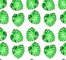 Modern green abstract leaves pattern by Maria Fernandes