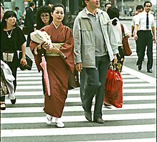 Pedestrians Crossing The Ginza. by cjkuntze