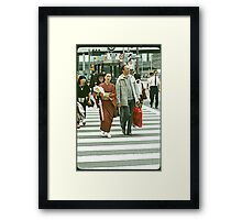 Pedestrians Crossing The Ginza. Framed Print