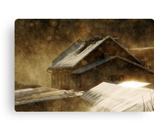 Snowstorm in the magic hour Canvas Print