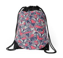 butterfly strawberry pink Drawstring Bag