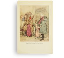 A Christmas Carol by Charles Dickens art by Arthur Rackham 1915 0093 Laden with Christmas Toys and Presents Canvas Print