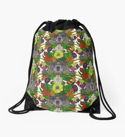 groundhog garden Drawstring Bag