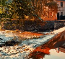 The river, a country house and reflections | waterscape photography Sticker