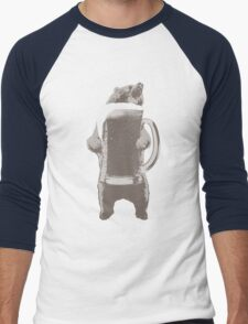 Funny Grizzly Bear & Giant Beer Men's Baseball ¾ T-Shirt
