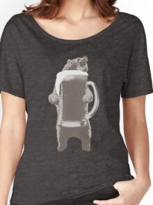 Funny Grizzly Bear & Giant Beer Women's Relaxed Fit T-Shirt