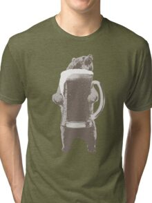 Funny Grizzly Bear & Giant Beer Tri-blend T-Shirt