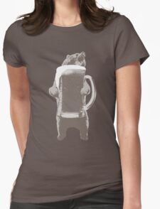 Funny Grizzly Bear & Giant Beer Womens Fitted T-Shirt