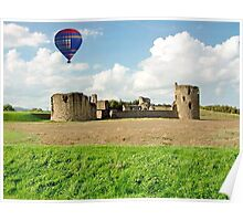 Hot Air Balloon Flight over Flint Castle, WALES Poster