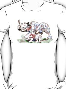 mother rhino and calf T-Shirt