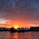 Sunset over Freo ships by Richard Majlinder
