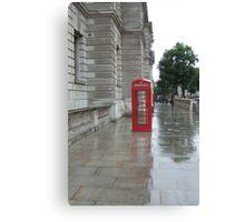 London Telephone Box in Rain  Canvas Print
