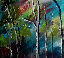 """Where the Cockatoos Fly"" Painting of Australian bushland by sandysartstudio"