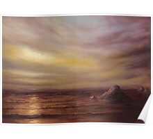 Seascape with Rocks Poster