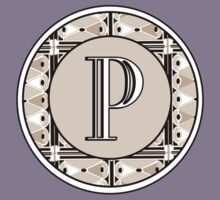 1920s Pink Champagne Gatsby Monogram letter P Kids Clothes