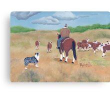 Get Along ~ Australian Shepherd ~ Oil Painting Canvas Print