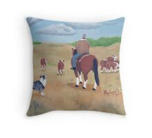 Get Along ~ Australian Shepherd ~ Oil Painting Throw Pillow