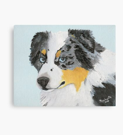 Sugar ~ Australian Shepherd Portrait ~ Oil Painting Canvas Print