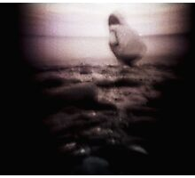 Shots on a cold beach, drawn to the edge. Photographic Print