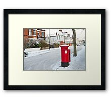 Snowy Letterbox in Idmiston Road, West Norwood, London. Framed Print
