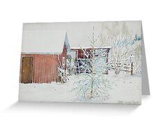 Snow,tree,barn Greeting Card