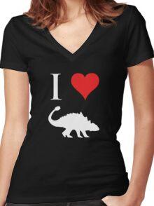 I Love Dinosaurs - Ankylosaurus (white design) Women's Fitted V-Neck T-Shirt