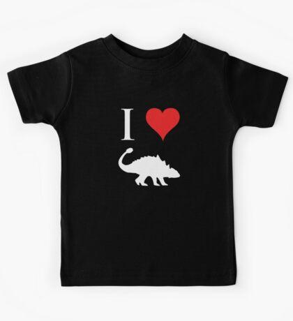 I Love Dinosaurs - Ankylosaurus (white design) Kids Tee