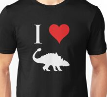 I Love Dinosaurs - Ankylosaurus (white design) Unisex T-Shirt