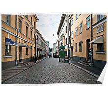Helsinki City Street Scene Poster