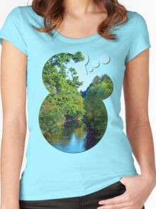 A summer evening along the river III | waterscape photography Women's Fitted Scoop T-Shirt