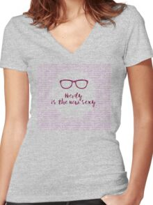 Nerdy - the new Sexy Women's Fitted V-Neck T-Shirt