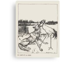 Aesop's Fables art by Arthur Rackham 1913 0118 The Wolf and the Crane Canvas Print