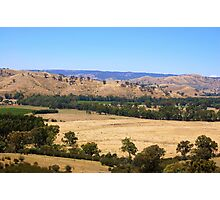 Farmland nestled at the base of the hills near Alexandra, Victoria Photographic Print
