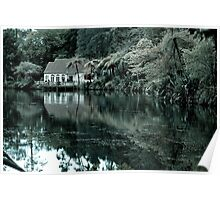 Peaceful lake with an old hut Poster