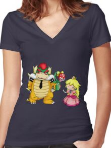 Princess Peach X Bowser Women's Fitted V-Neck T-Shirt