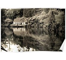 Old lake with a hut in subtropical bush Poster