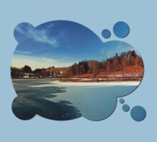 Frozen river panorama | waterscape photography One Piece - Short Sleeve