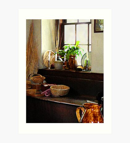 Basket and Plant by Window Art Print
